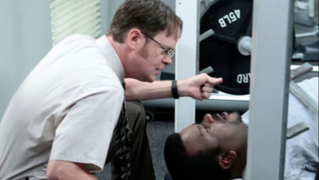Rainn Wilson and Craig Robinson in The Office (2005).