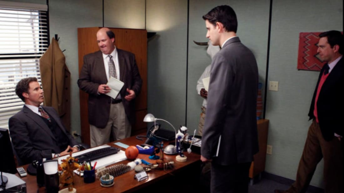 Will Ferrell, Brian Baumgartner, Zach Woods, and Ed Helms in The Office (2005).