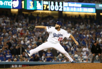 Left-handed pitcher Clayton Kershaw of the Los Angeles Dodgers during game five of the National League Division Series in 2019.