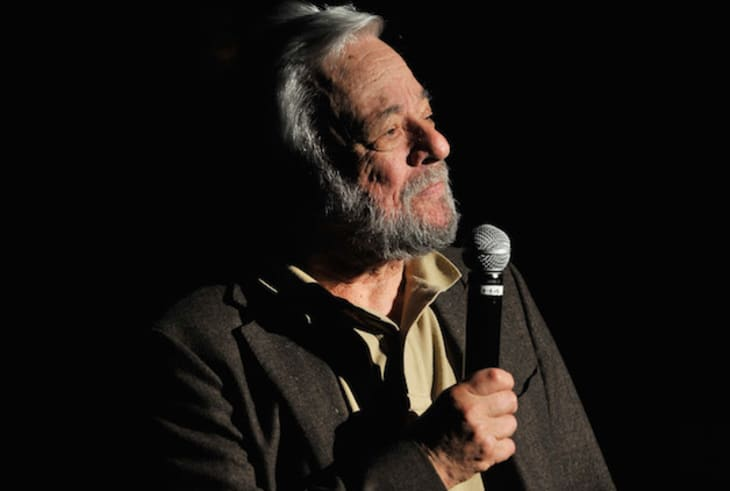 Composer Stephen Sondheim speaks at the Great Writers Thank Their Lucky Stars annual gala hosted by The Dramatists Guild Fund on October 21, 2013 in New York City.