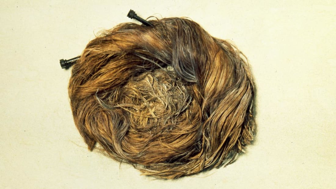 A long-dead Roman woman's hair bun, jet pins and all.
