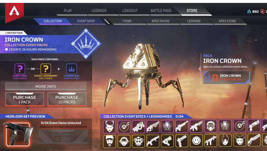 Apex Legends Iron Crown Event Receives Backlash Over Pricing Model | dbltap