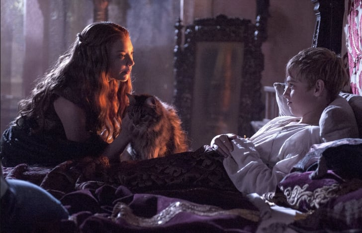 Natalie Dormer, Dean-Charles Chapman, and 'Ser Pounce' in 'Game of Thrones'