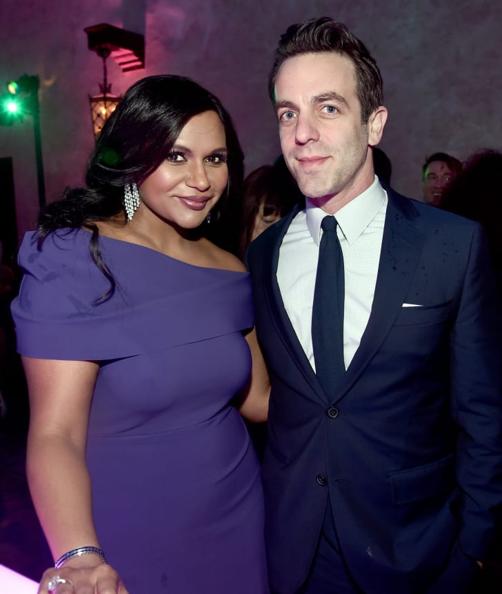 Actor Mindy Kaling (L) and B. J. Novak at the world premiere of Disney's 'A Wrinkle in Time' at the El Capitan Theatre in Hollywood CA, Feburary 26, 2018