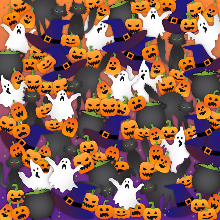 Orange pumpkins, white ghosts, and black cauldrons fill a hidden-image puzzle.
