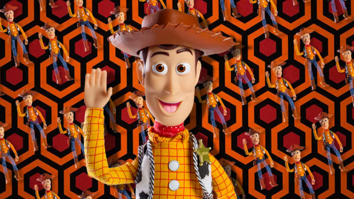 Woody from 'Toy Story' on a background from 'The Shining'