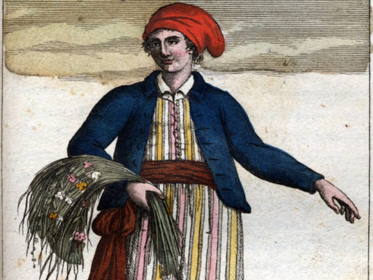 Imagined portrait of Jeanne Baret dressed as a sailor, dating from 1817, after her death