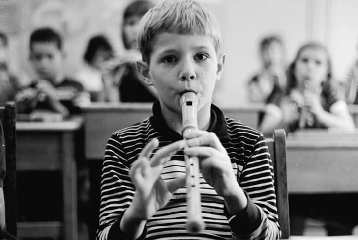 A student plays the recorder