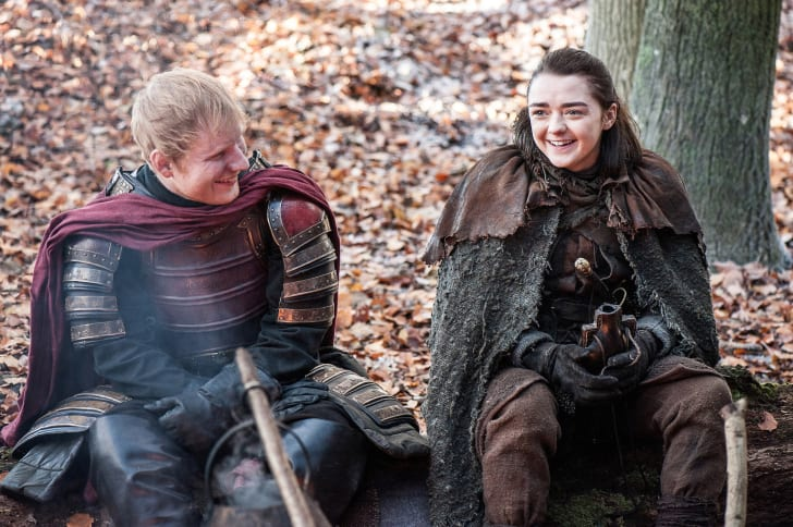Ed Sheeran and Maisie Williams in 'Game of Thrones'
