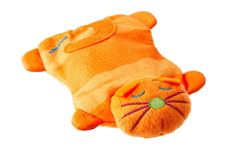An orange cat-shaped microwavable plush toy