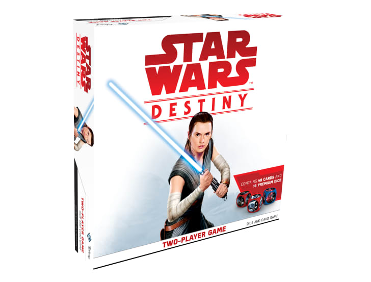 The cover of 'Star Wars: Destiny' shows Rey brandishing a light saber