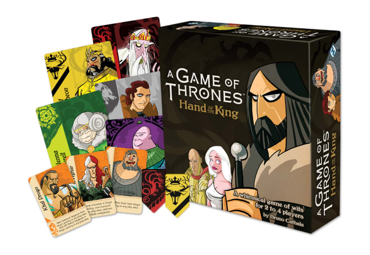 Cards and the cover of 'A Game of Thrones: Hand of the King'