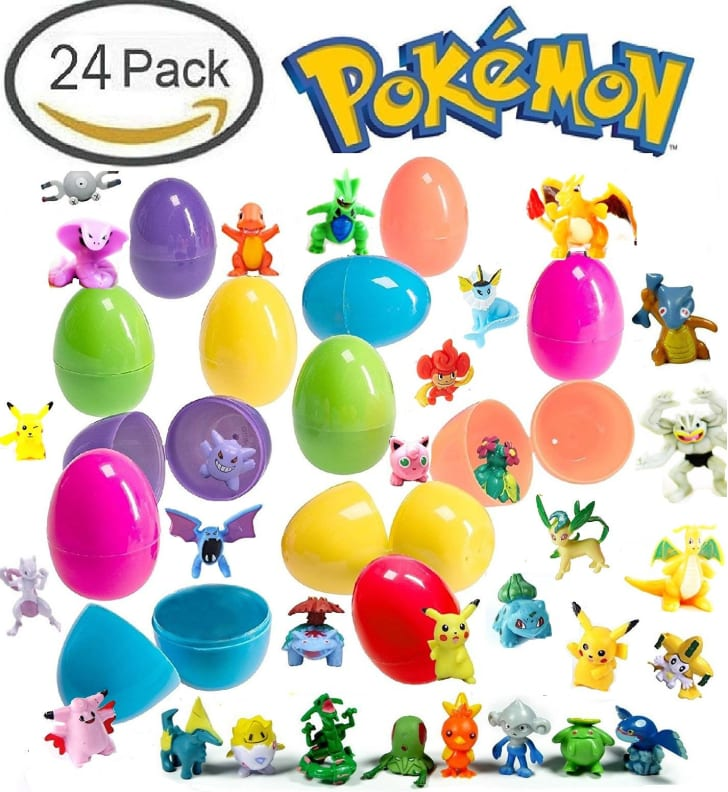 Pokemon figurines near colorful plastic Easter eggs
