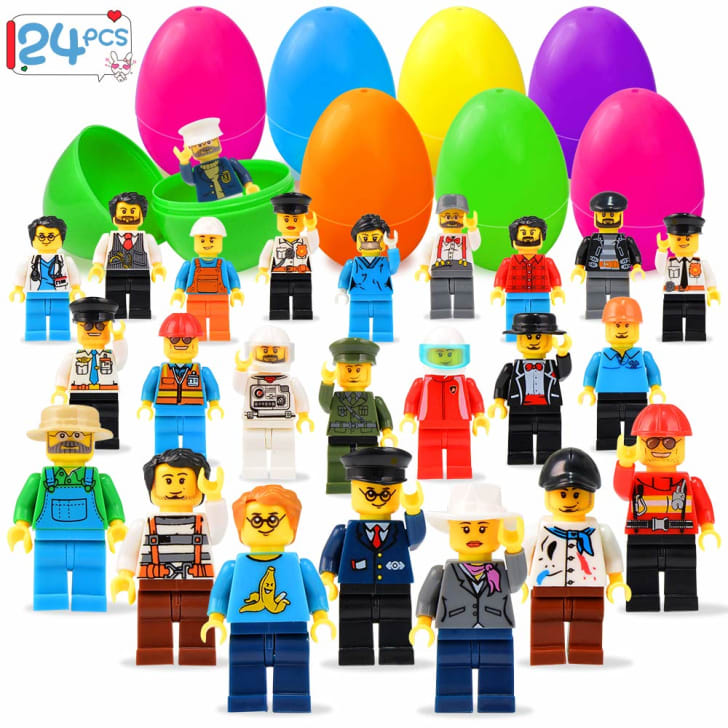 Minifigures in front of colorful plastic Easter eggs