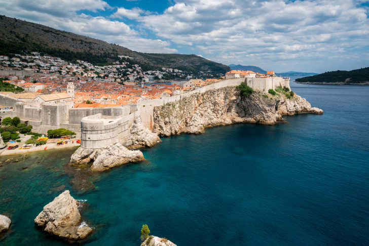 An aerial view of Dubrovnik from the sea