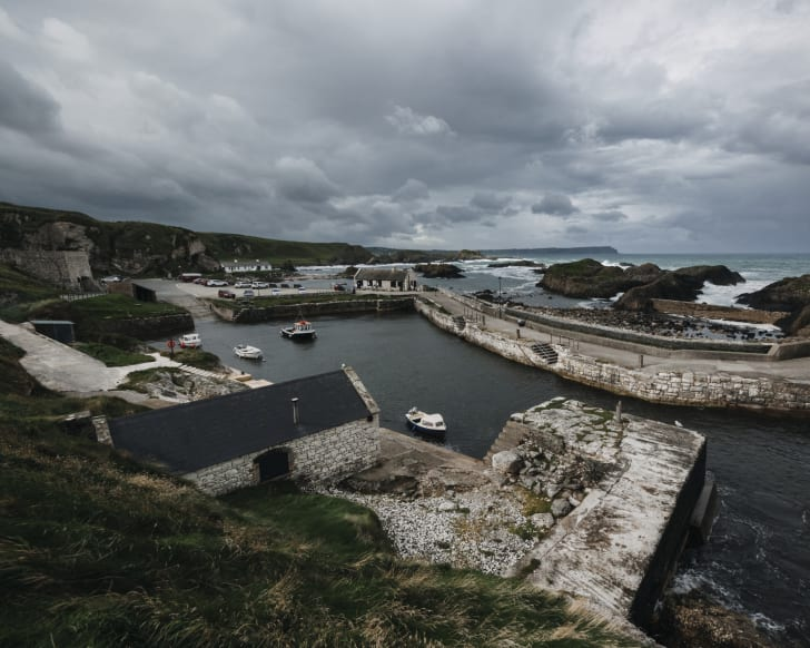 An aerial view of Ballintoy Harbor