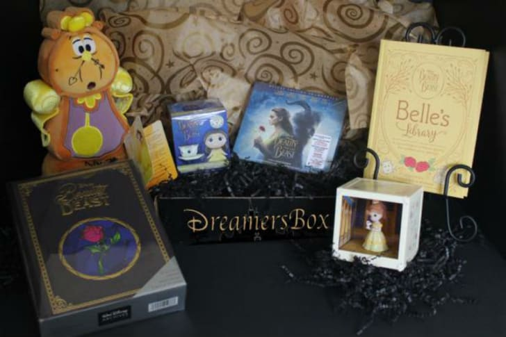 The contents of a Dreamers Disney subscription box are pictured
