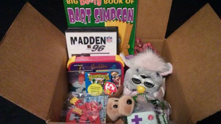 The contents of a Nostalgia Crate subscription box are pictured