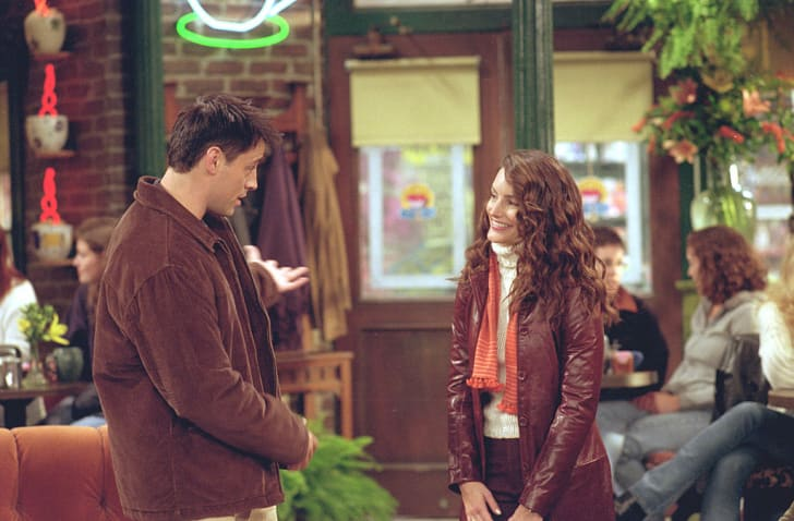 Actors Matt LeBlanc as Joey Tribbiani, Kristin Davis as Erin star in NBC's comedy series 'Friends' episode 'The One With Ross's Library Book.'