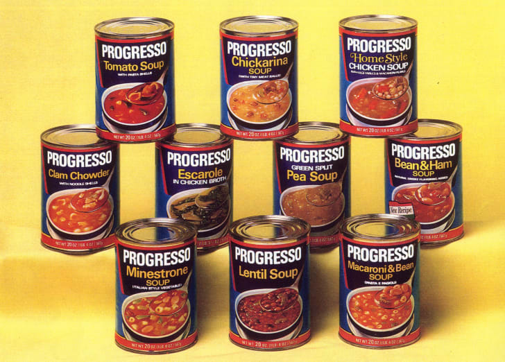 Stacks of Progresso cans