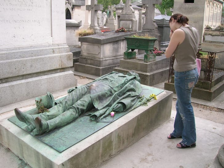 Victor Noir's grave at Père Lachaise in Paris