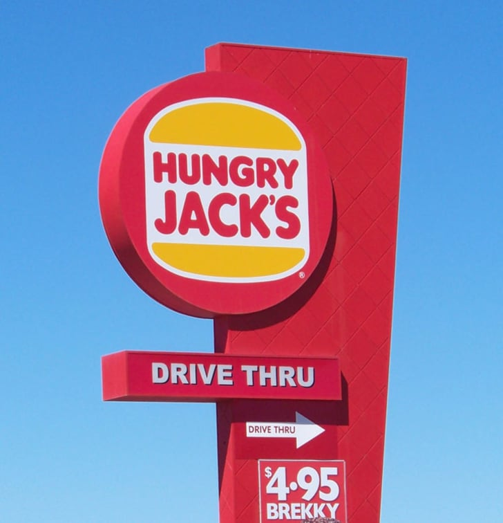 A Hungry Jack's drive thru sign