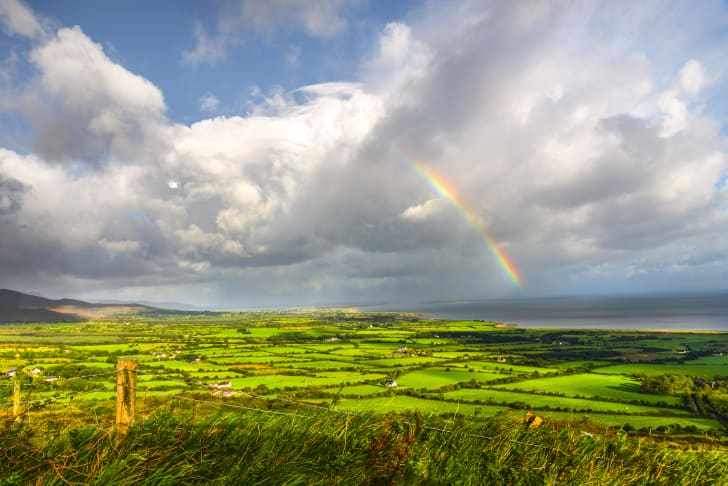 A rainbow over the Irish countryside