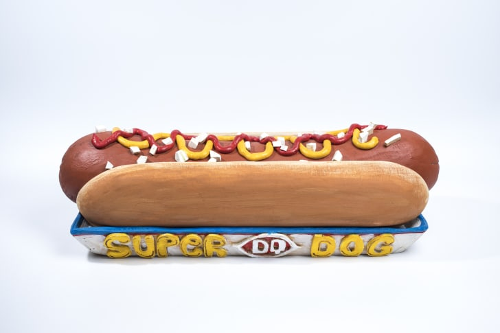 A hot dog sculpture