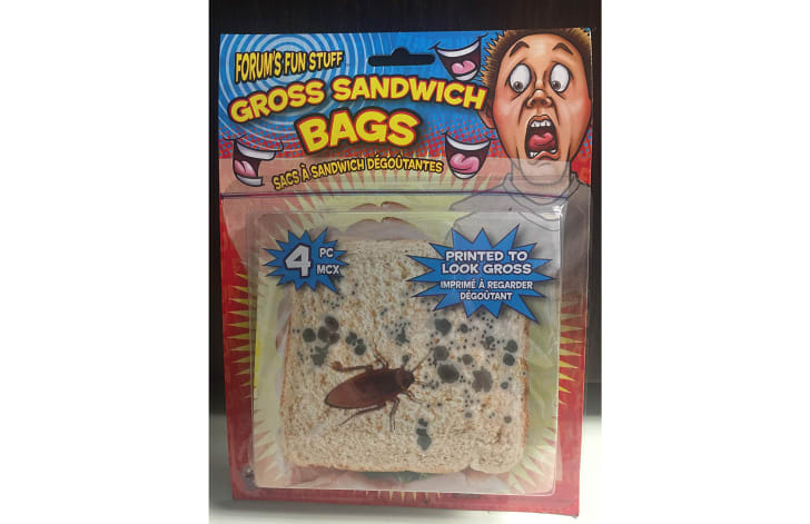 A novelty sandwich bag designed to look like a piece of bread is moldy and cockroach-infested