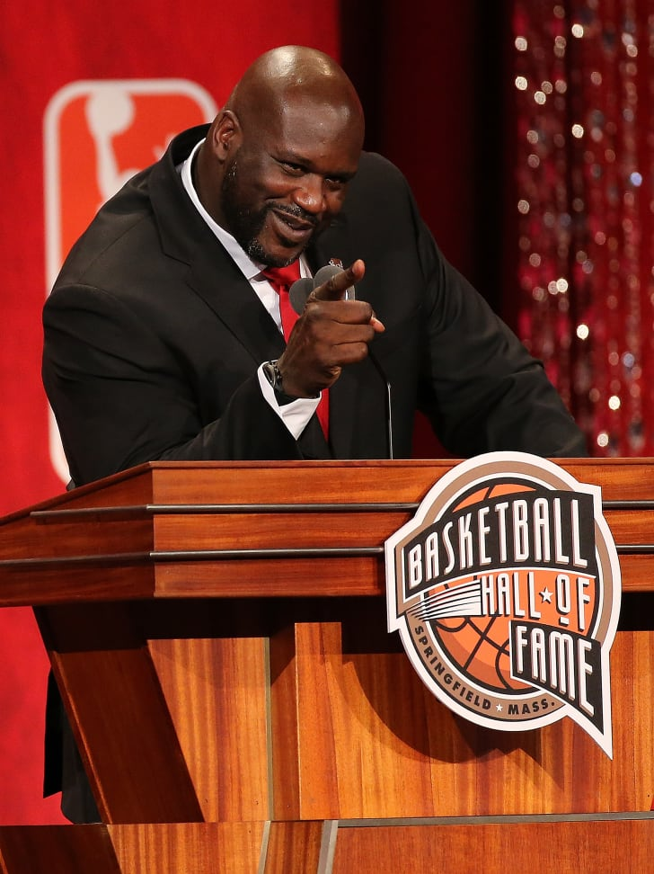 Shaquille O'Neal onstage during his Basketball Hall of Fame Enshrinement Ceremony in 2016.