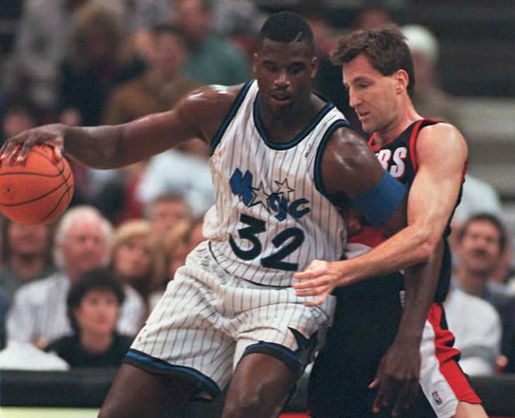 Shaquille O'Neal playing for the Orlando Magic in 1995.