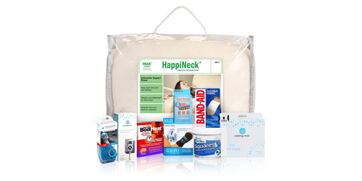 A bundle of pain-relieving devices, including Band-Aids, a heating pad, and more