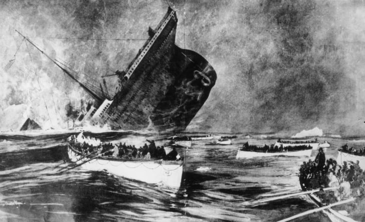Artist's rendering of the Titanic sinking, Illustrated London News