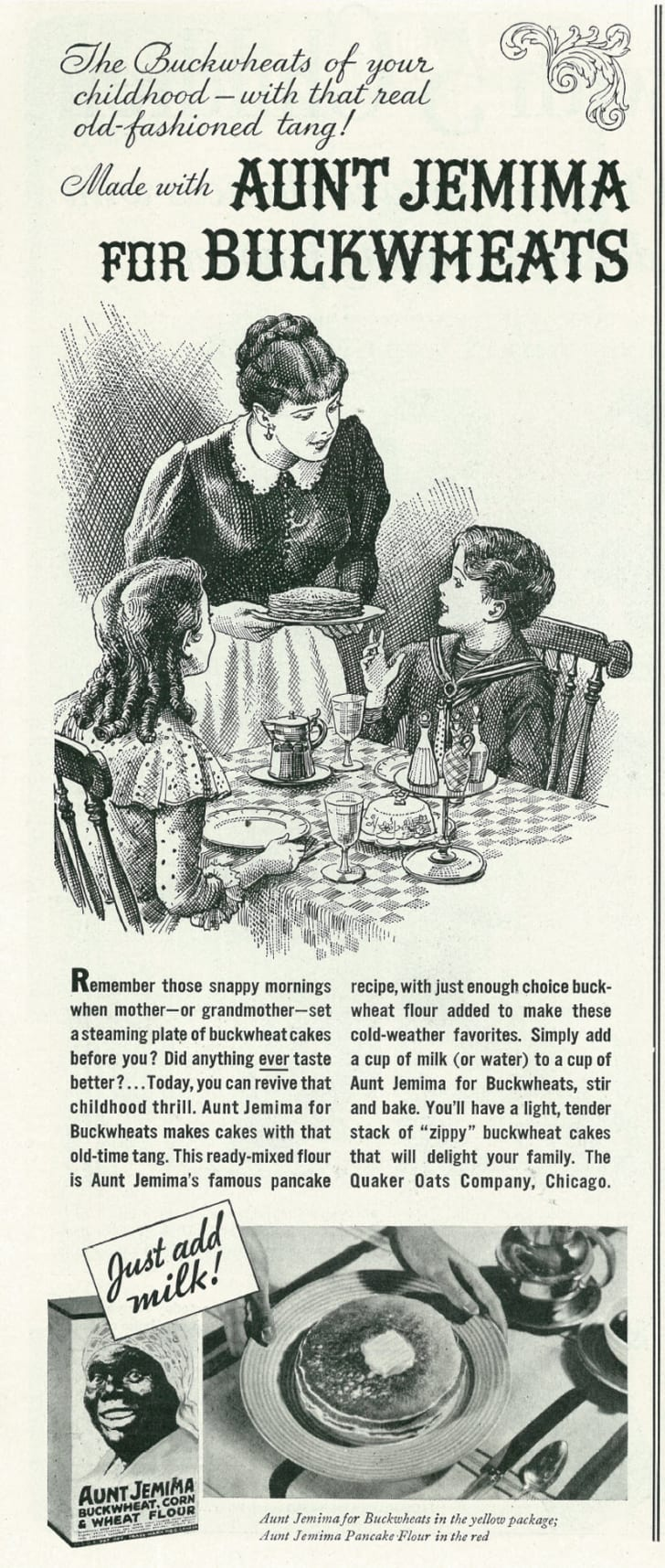 A magazine ad for Aunt Jemima pancake mix, 1934
