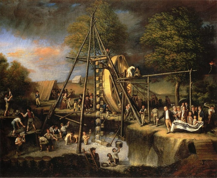 A painting of The Exhumation of the Mastadon