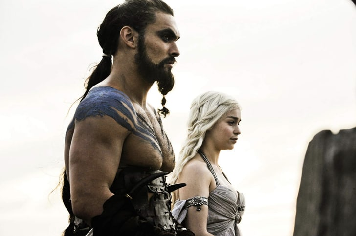 Jason Momoa and Emilia Clarke in Game of Thrones