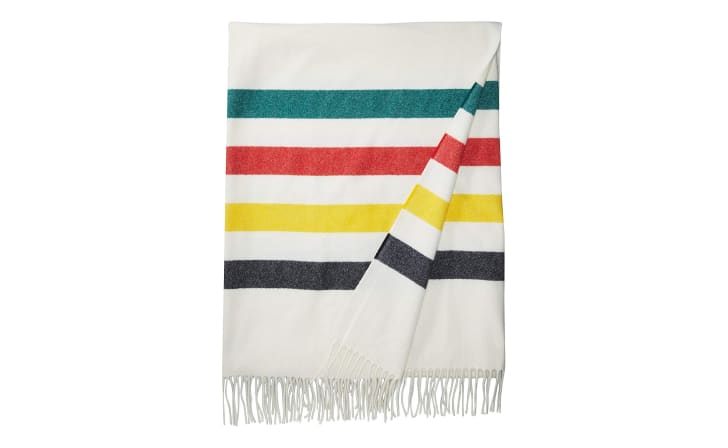 A striped Pendleton throw blanket