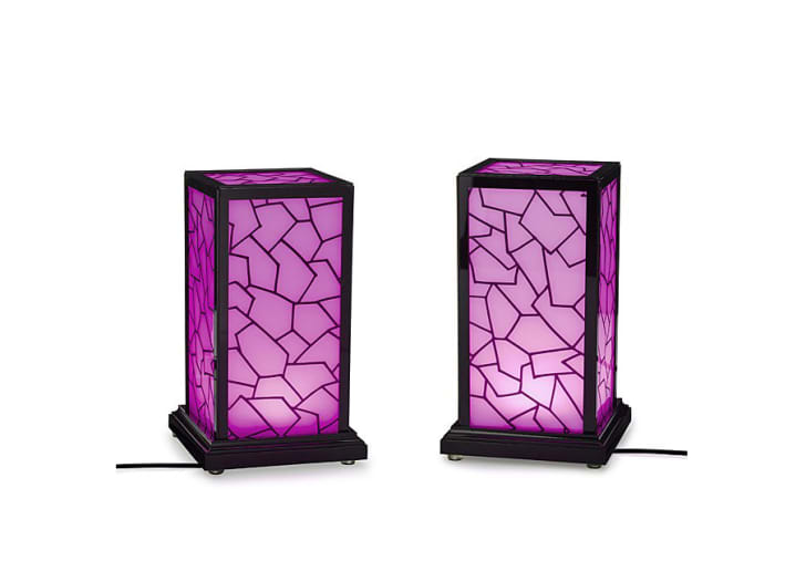 Two purple lamps