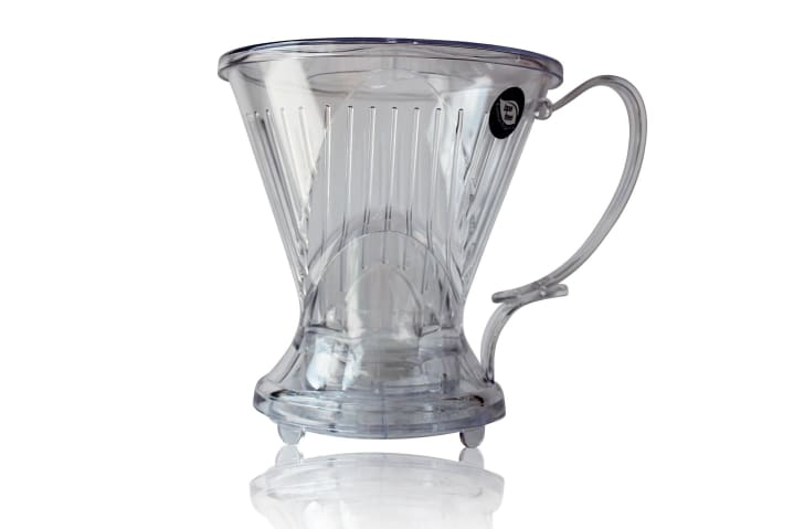 A clear plastic Clever coffee brewer