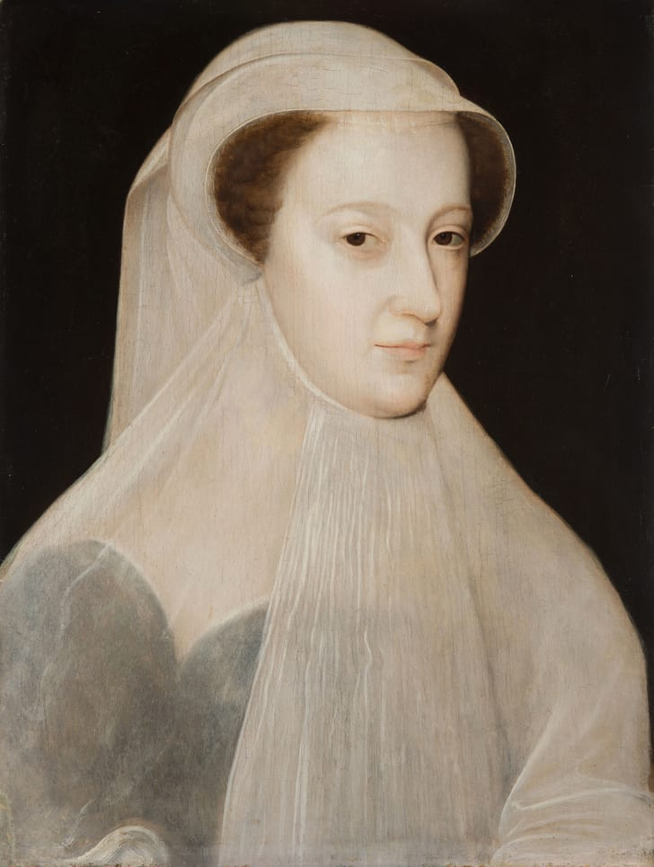 Mary, Queen of Scots in mourning wear, circa 1560.