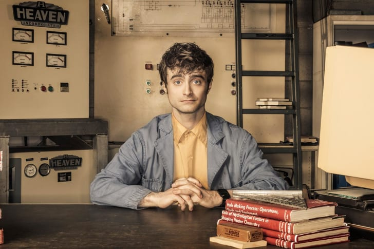An image of Daniel Radcliffe on the set of Miracle Workers.