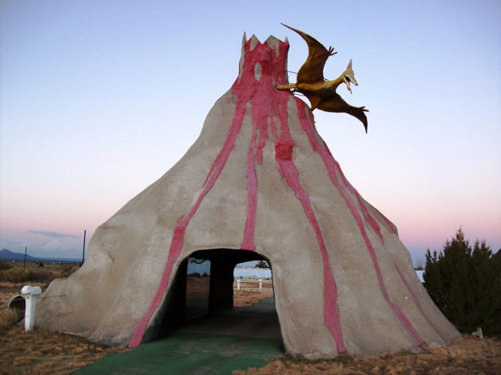 A drive-through volcano structure at Bedrock City