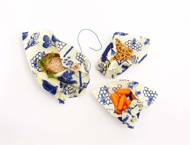 Food covered in pattered wax wraps