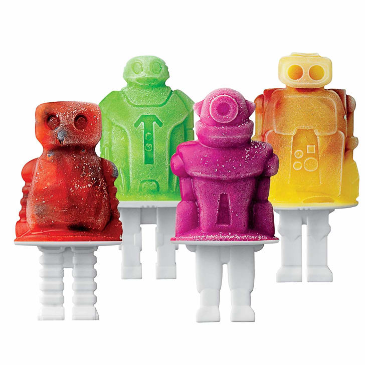 Four robot-shaped popsicles