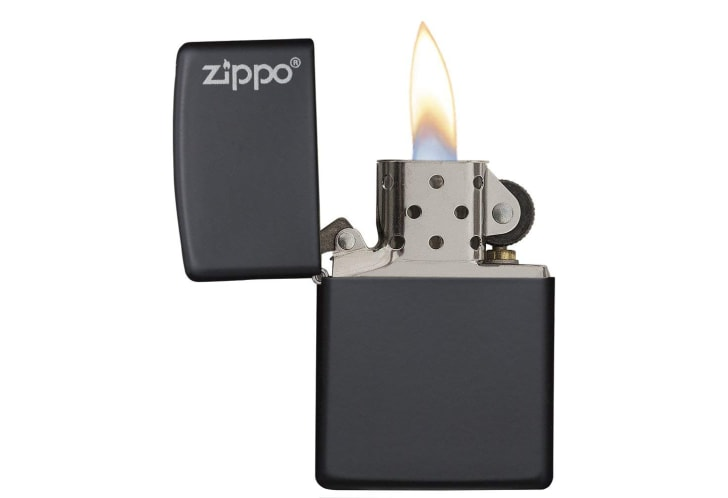 A black Zippo matte pocket lighter