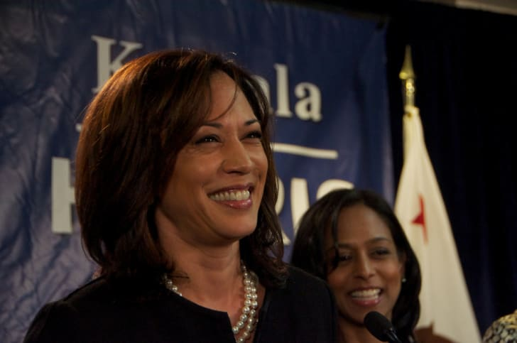 Kamala Harris in 2010 after winning the nomination for Attorney General