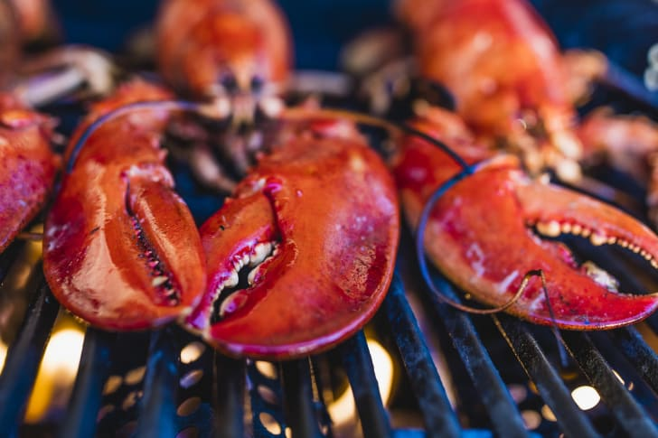 Grilling lobsters on the barbecue