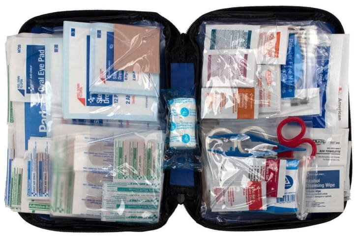 An open first aid kit