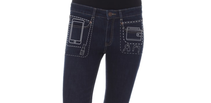 A pair of Radian Jeans with diagrams showing what can fit in the pants' front pockets