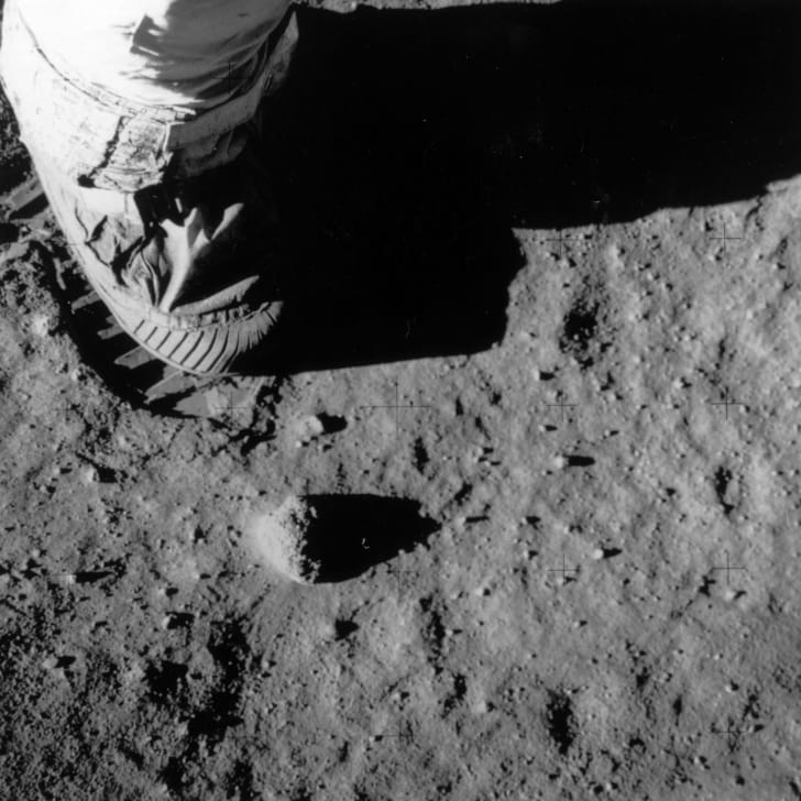 An image of Buzz Aldrin's boot and footprint on the Moon.